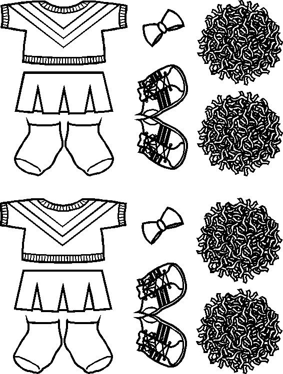 photo relating to Cheerleading Templates Printable identified as Cheerleading Paper Doll Close friends outlines paper dolls