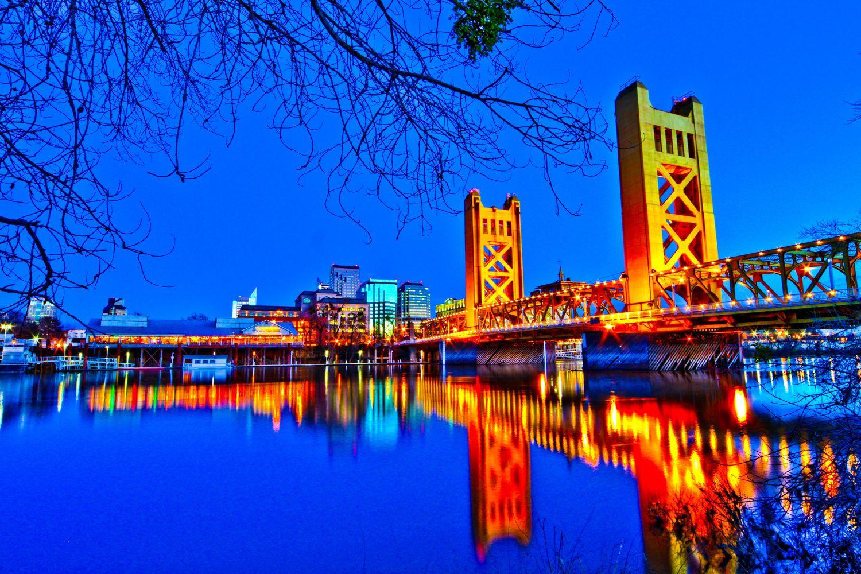 Photography Architecture Landscape Night Shot Lights Sacramento River Rhondapiperphotog California Tourist Spots Sacramento Bridge Sacramento California