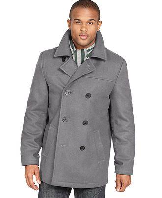 Tommy Hilfiger Coat Melton Wool Blend, Tommy Hilfiger Peacoat With Hood