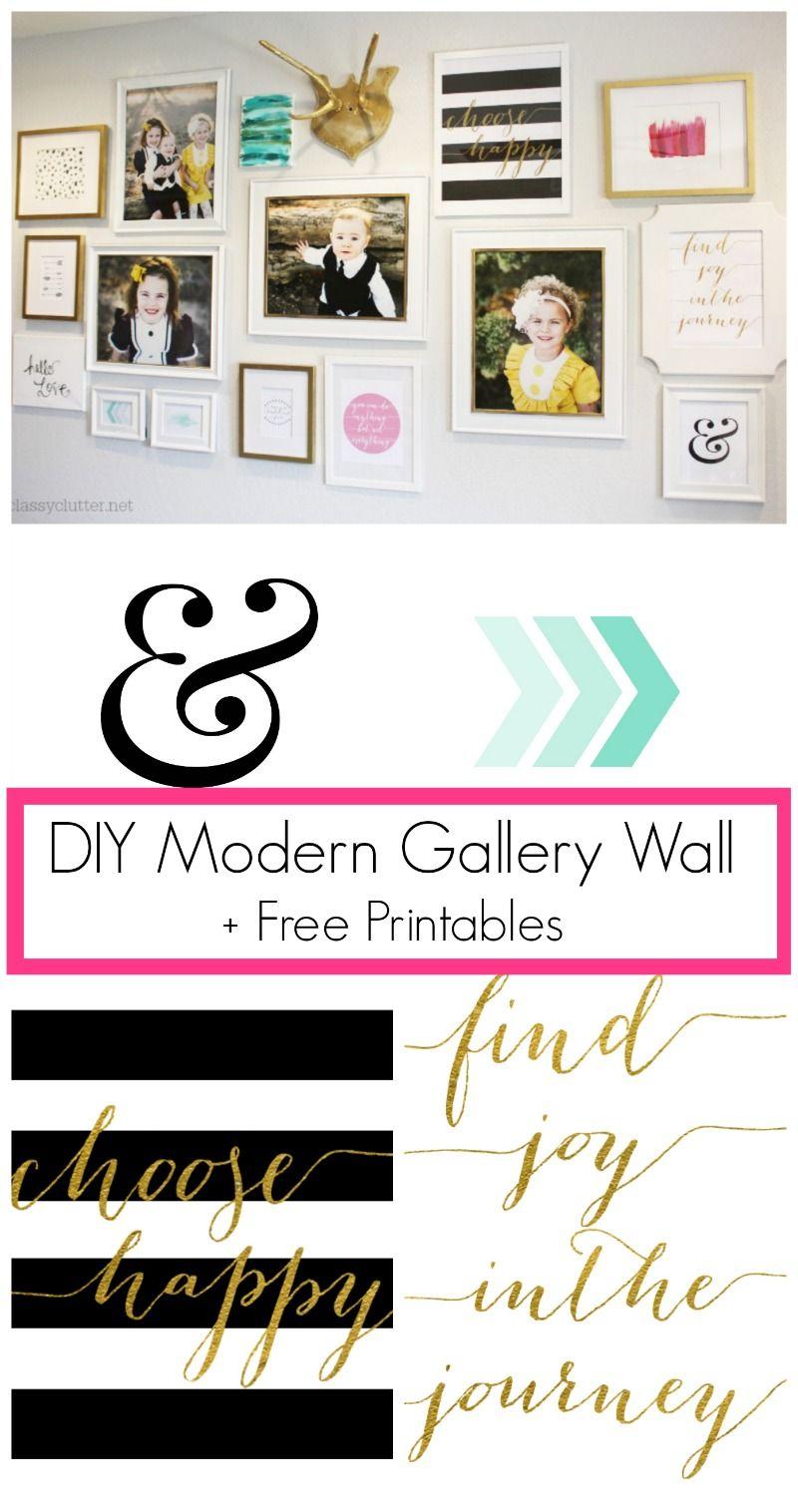 DIY Modern Gallery Wall + Free Printables   www.classyclutter.net #printable #gallerywall