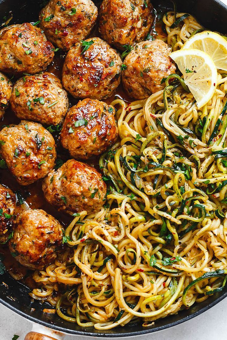Garlic Butter Turkey Meatballs with Lemon Zucchini Noodles