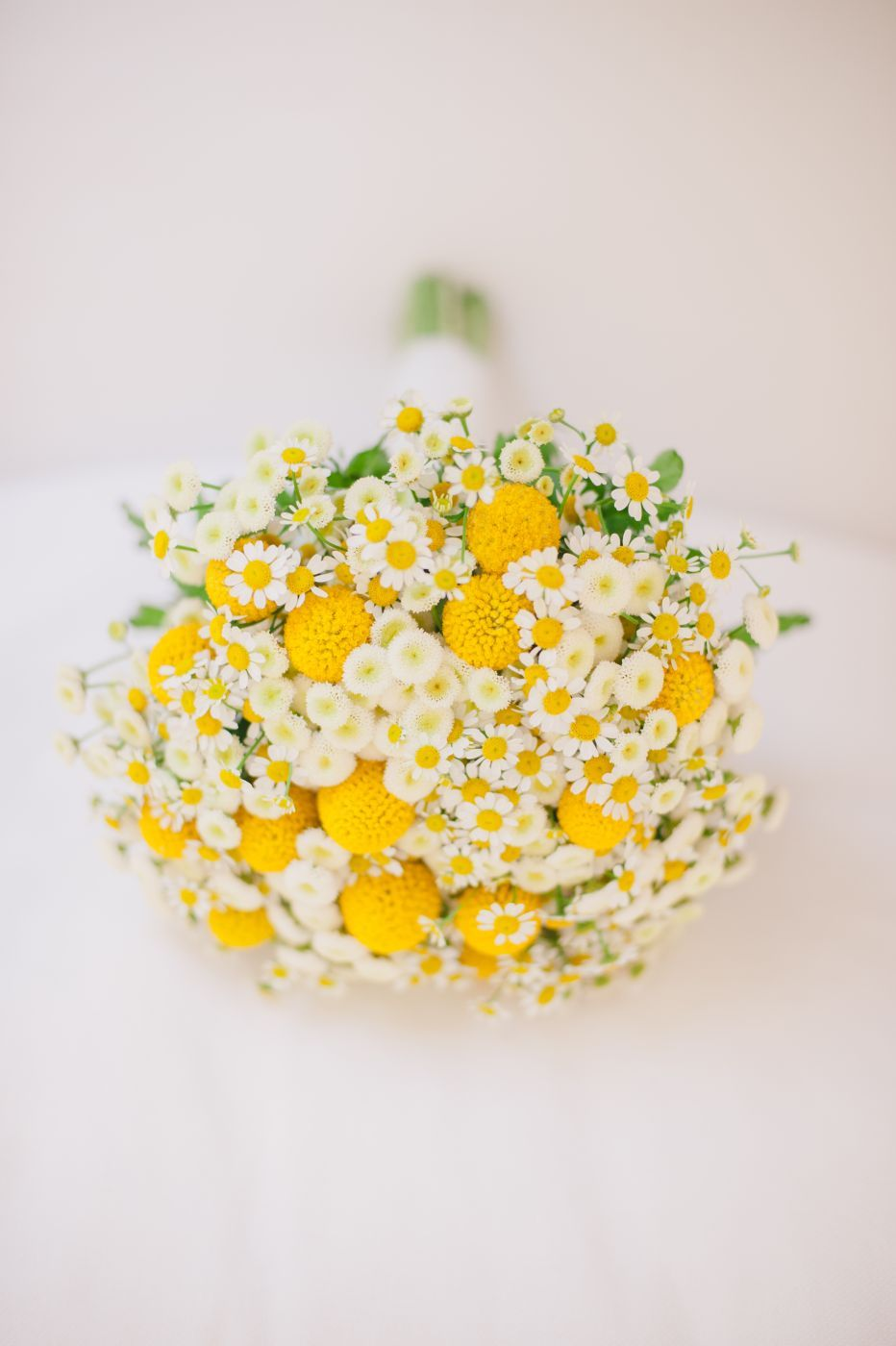 Yellow And White Wedding Bouquet With Wild Flowers Cake Confetti