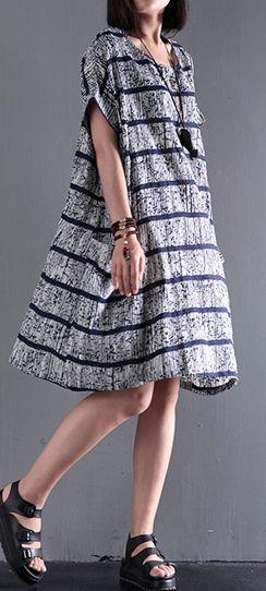 a3ea7c6605 Summer new gray strips linen dress dig pocket sundress plus size traveling  dressesThis unique deisgn deserves the best quality texture.