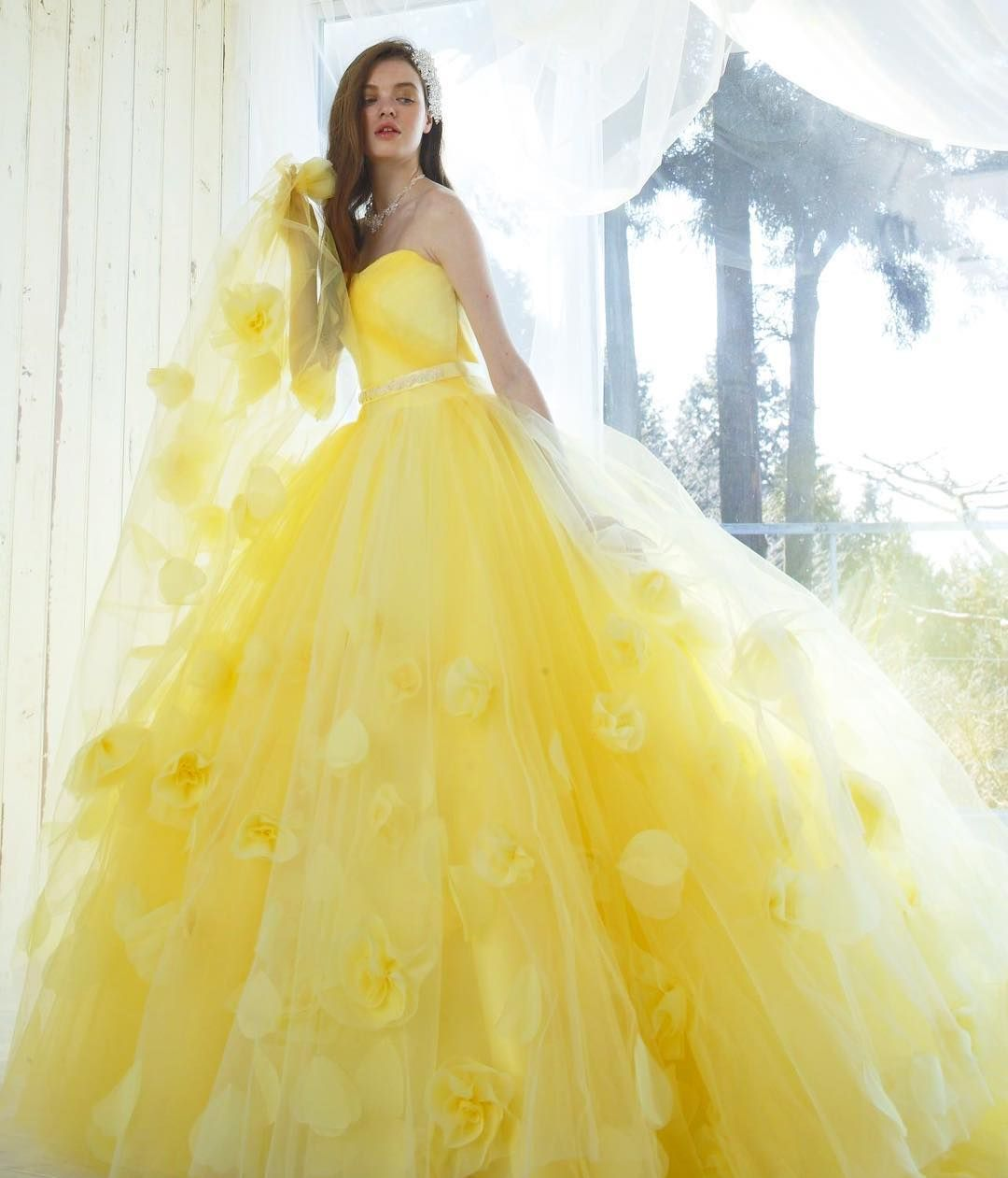 5a2afd4b06c9 Yellow Wedding Dress, Colored Wedding Dresses, Yellow Weddings, Gorgeous  Prom Dresses, Pretty