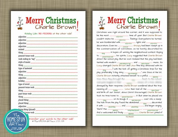 Charlie Brown Christmas Mad Libs Holiday by TheHomespunArtisan ...