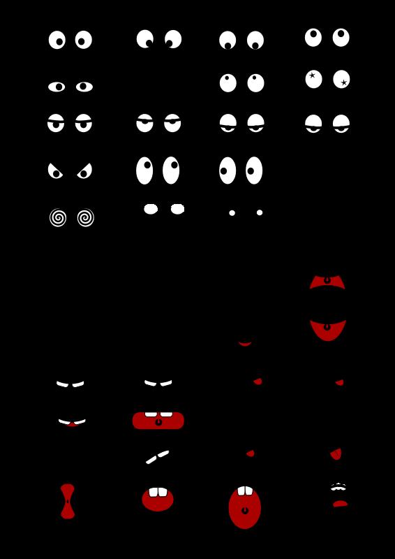 Free Clipart: Cartoon Mouth n Eyes   Objects   Эмоции   Pinterest ...