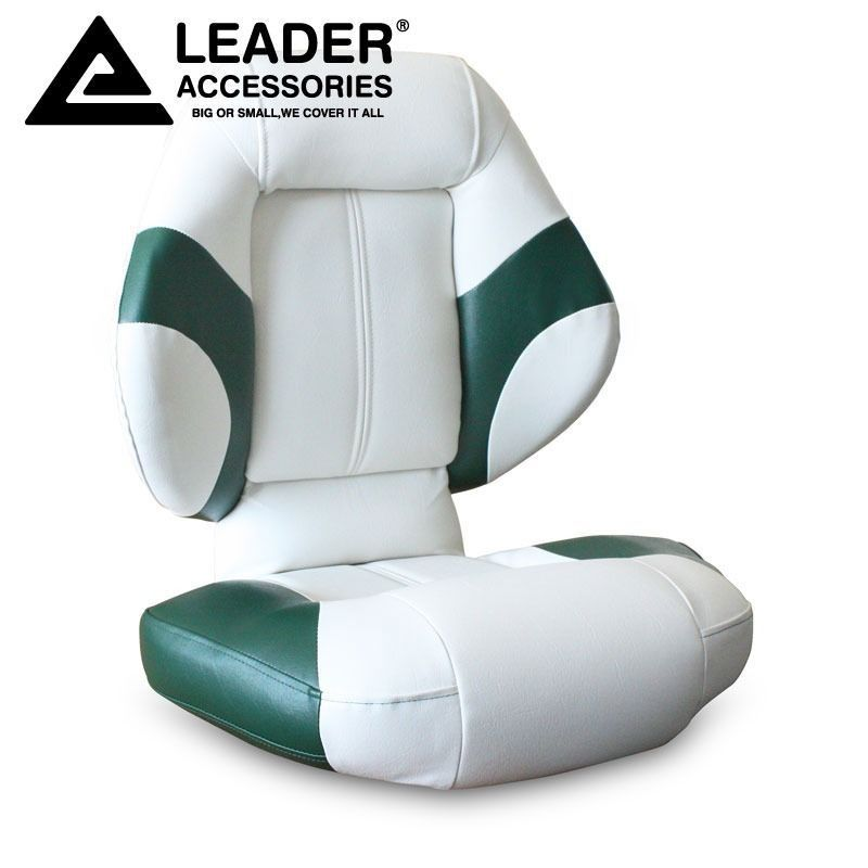 Leader Accessories Bass Boat Seat Fishing Chair Green White | Boat