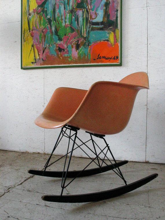 Herman Miller Eames Fiberglass Rocking Chair Venice California Label,  Vintageu2026