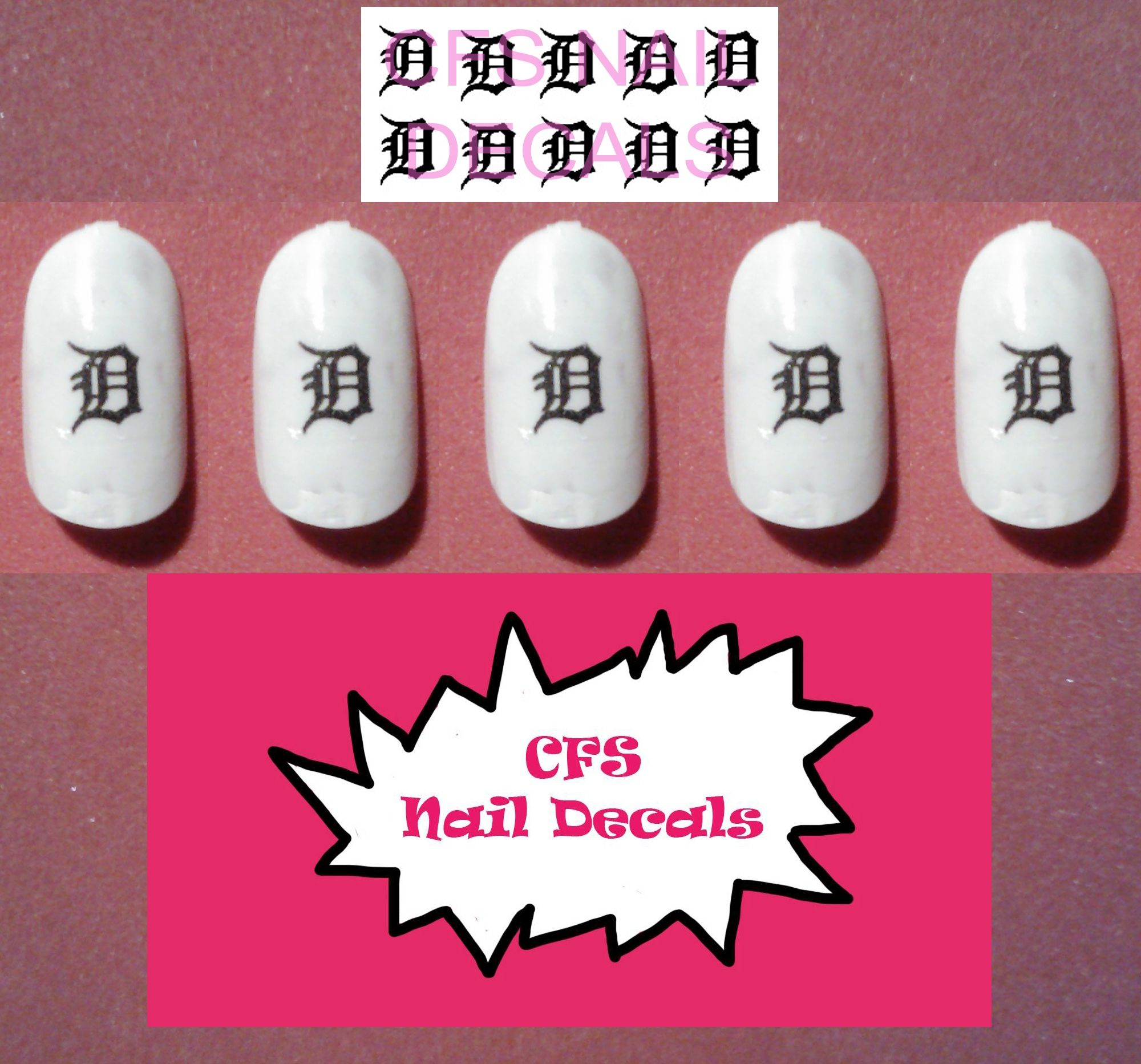 Detroit Tigers Old English D Waterslide Nail Decals | Nail Decals ...