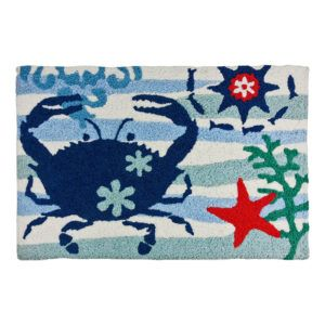 Blue Crab And Starfish Accent Area Rug