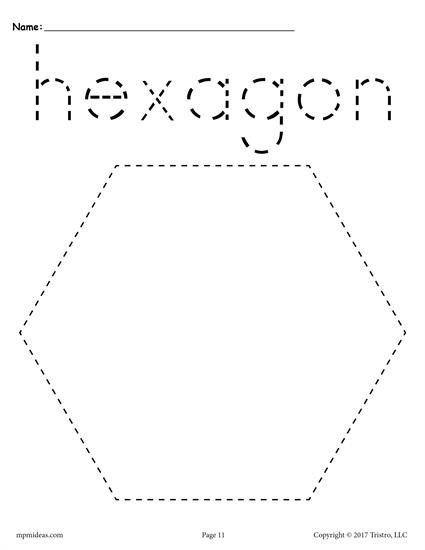 FREE hexagon tracing worksheet. Great for preschool and kindergarten ...