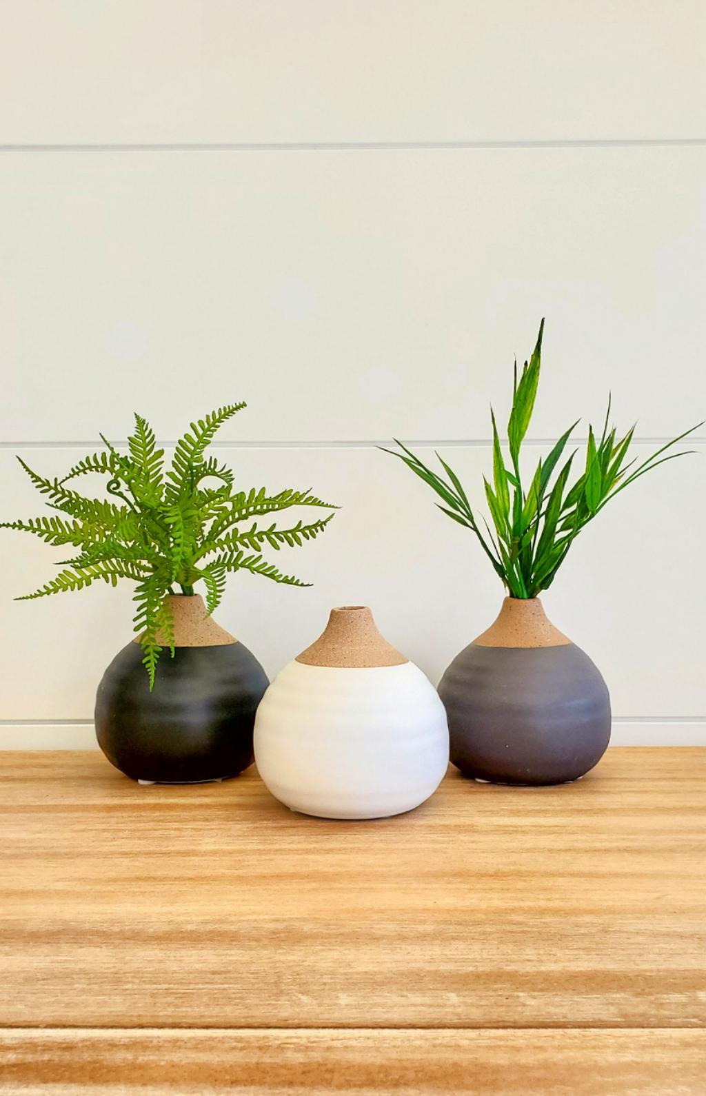 Small Round Vase - White