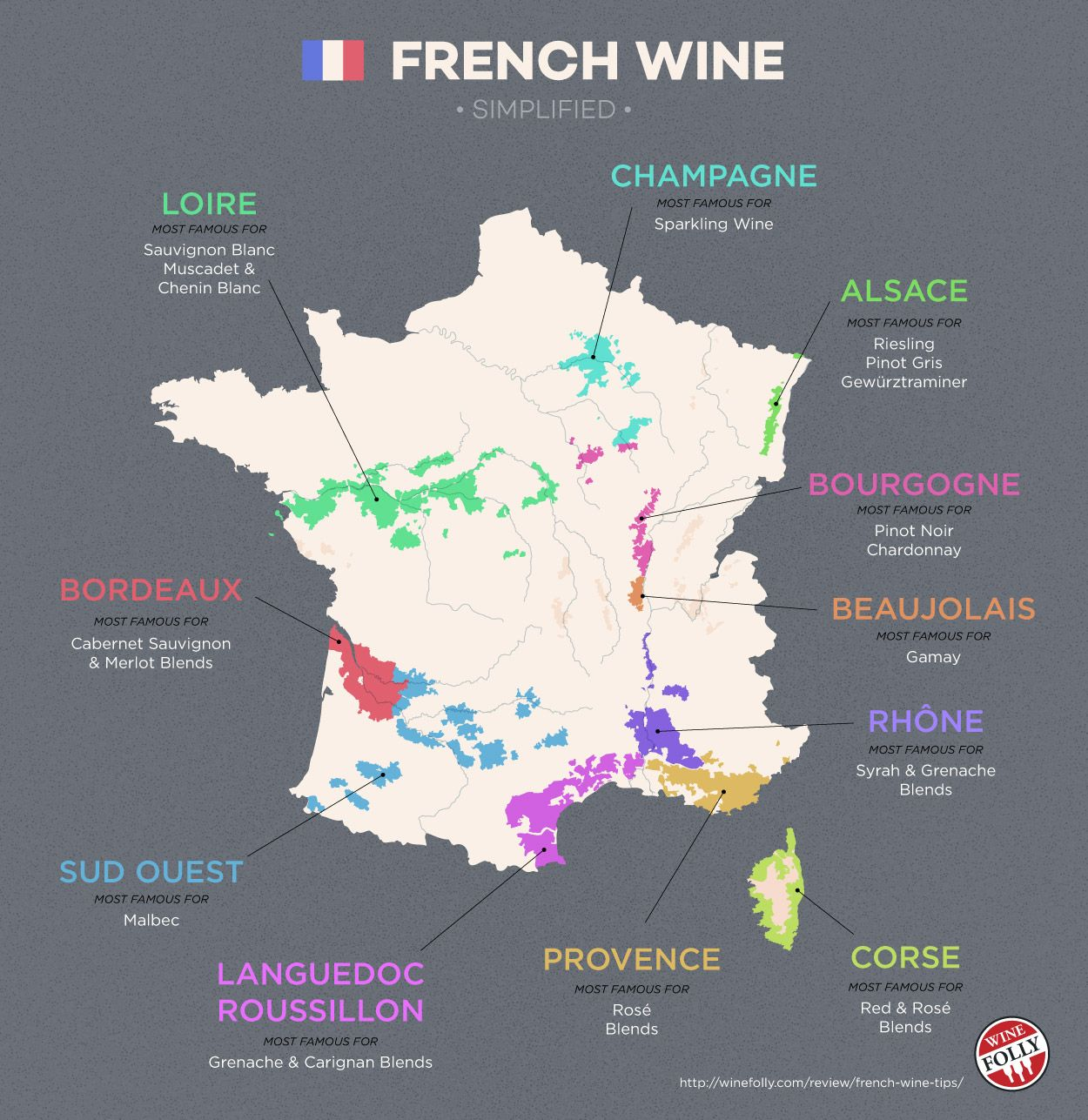 Explore French wine with a simple map. http://winefolly.com/review/french-wine-tips/