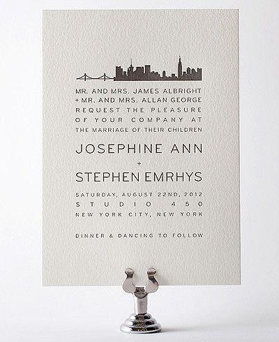New York City Skyline Letterpress Wedding Invitation Pretty And Simple