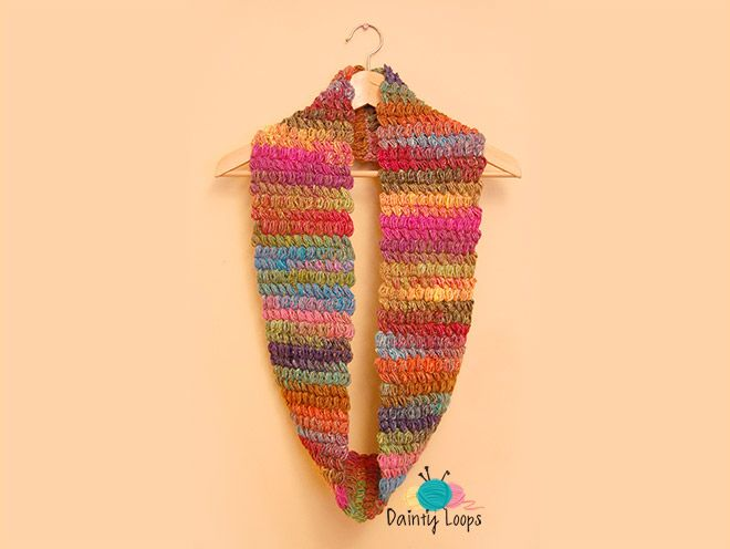 Free Puffed Rainbow Cowl Pattern by Dainty Loops | Knitting and ...
