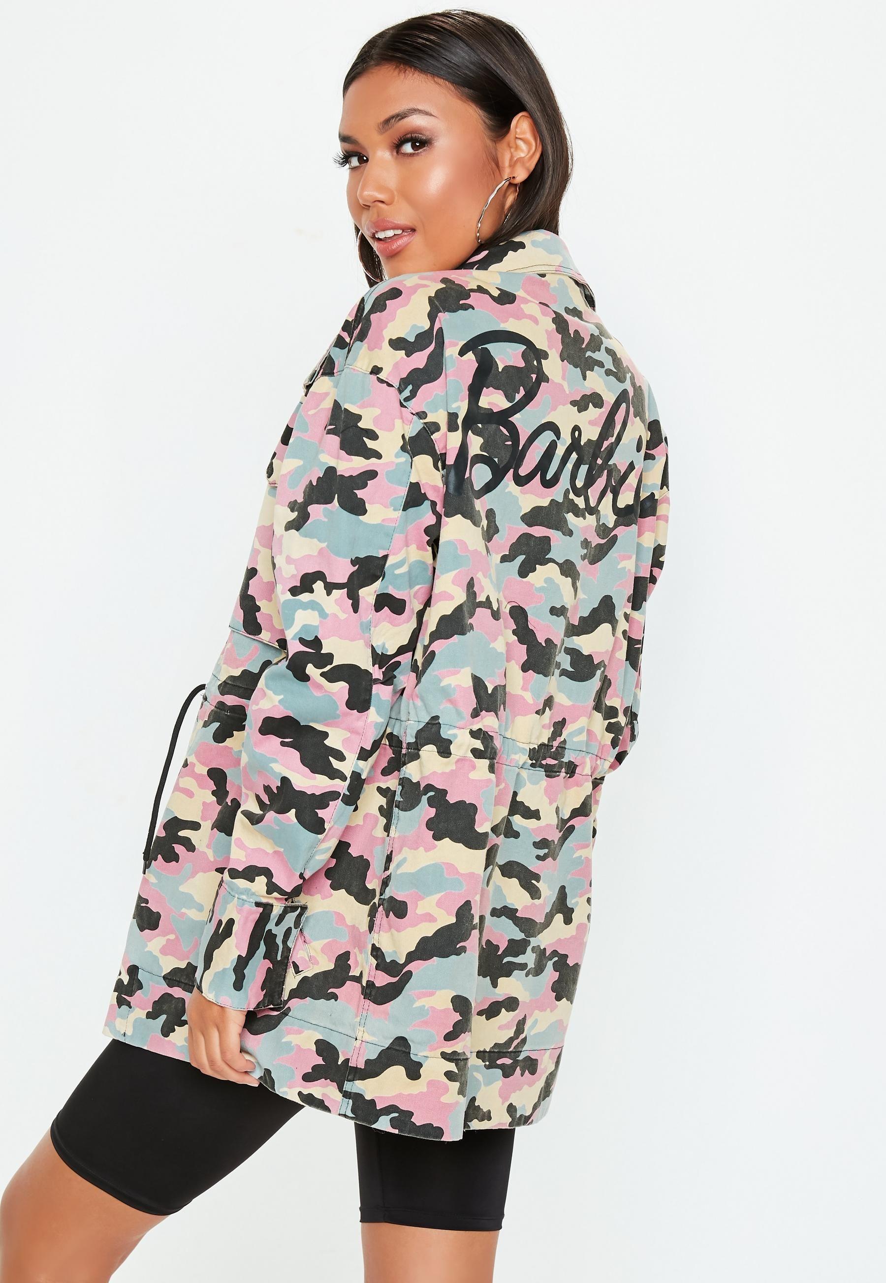 2fcedfac Barbie x Missguided Pink Logo Camo Jacket | sweit-like honnie | Camo ...