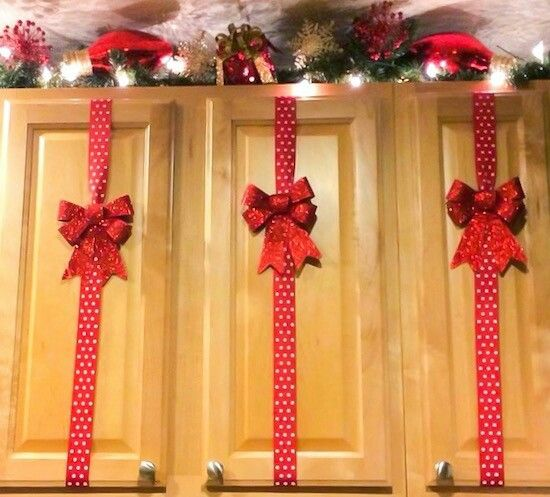 4 PCS Cabinet Door Festive Ribbons and Bows Decoration Holidays Home Decor