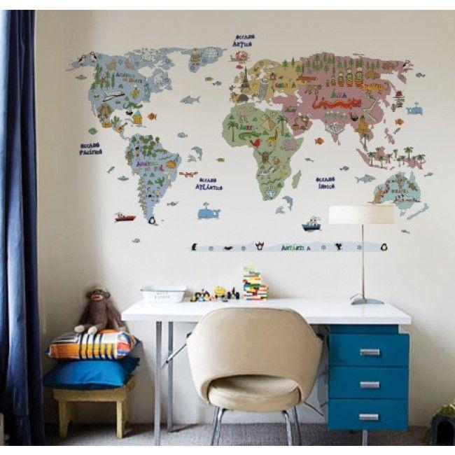 Adesivo de Parede Mapa Mundi Aventura  Dosmeninos  Pinterest
