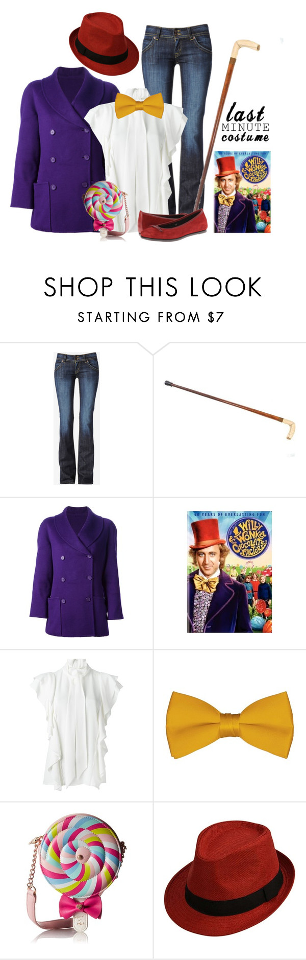 """""""Willy Wonka - Halloween"""" by glynnas ❤ liked on Polyvore featuring Hudson Jeans, Mila Schön, Lanvin, Betsey Johnson and The Flexx"""