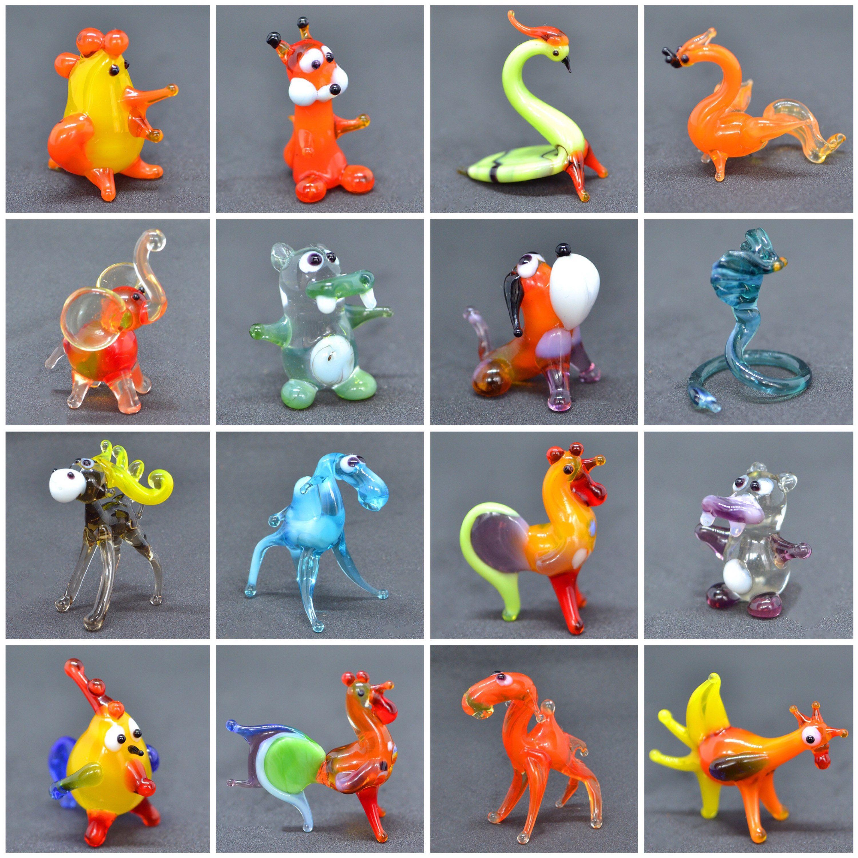 Miniature Art Glass Clear Figurine Octopus Glass Blown Squit Animals Gift