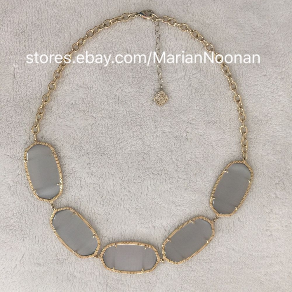 Kendra Scott Valencia Necklace In Slate Cats Eye Gray Gold With Gift
