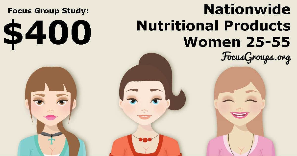 Focus Group for Women on Nutritional Products - $400 - FocusGroups.org