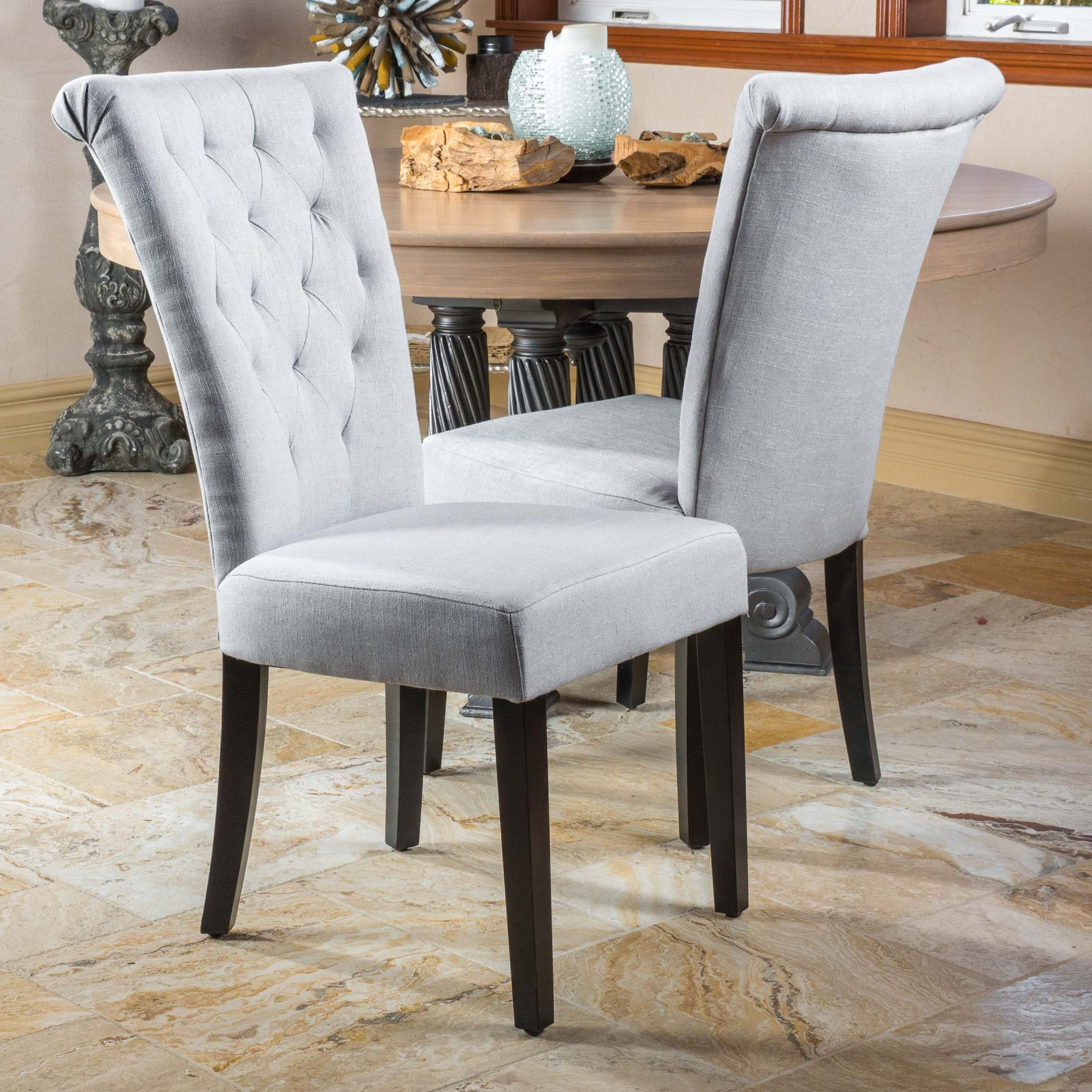 Paulina Light Grey Fabric Dining Chairs Set Of 2 Tufted Dining