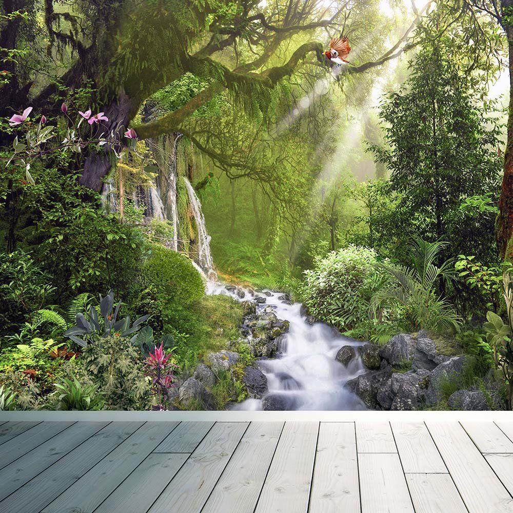 Tropical rainforest waterfall wall mural photo wallpaper for Amazon mural wallpaper