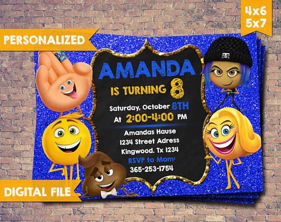 Emoji Invitation Movie Birthday Party Card Digital