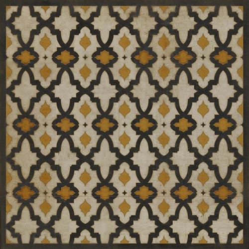 Pattern 31 Rajha Vinyl Floorcloth Vintage Floor Area Mat Black