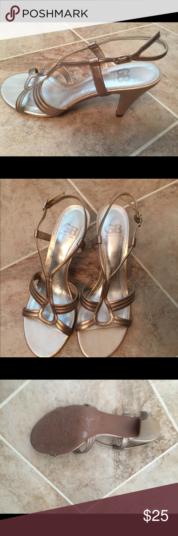 Selling this Gianni Bini strappy heeled leather dress sandals on Poshmark! My username is: delightboutique. #shopmycloset #poshmark #fashion #shopping #style #forsale #Gianni Bini #Shoes
