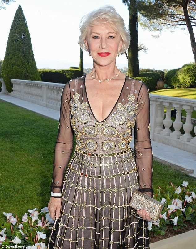 Helen Mirren, 70, wears semisheer gown to attend amfAR