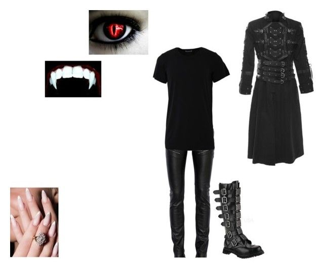 """""""Vampire"""" by in-seva ❤ liked on Polyvore featuring Yves Saint Laurent, Numero00, Demonia, men's fashion and menswear"""