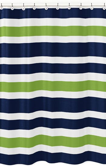 Modern White Navy And Lime Stripe Bathroom Fabric Bath Shower