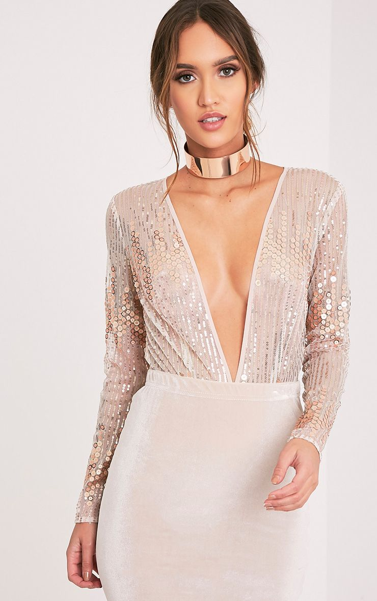 282412d0c17a Jennilyn Rose Gold Sequin Plunge Thong Bodysuit | Ropa | Sequin ...