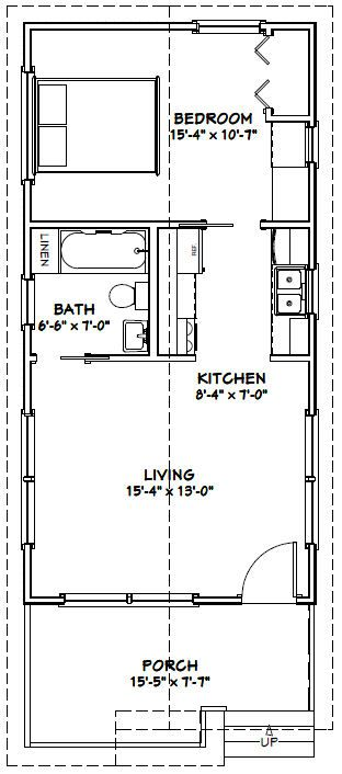 16x32 1 bedroom house 16x32h1a 511 sq ft for 16x32 house plans