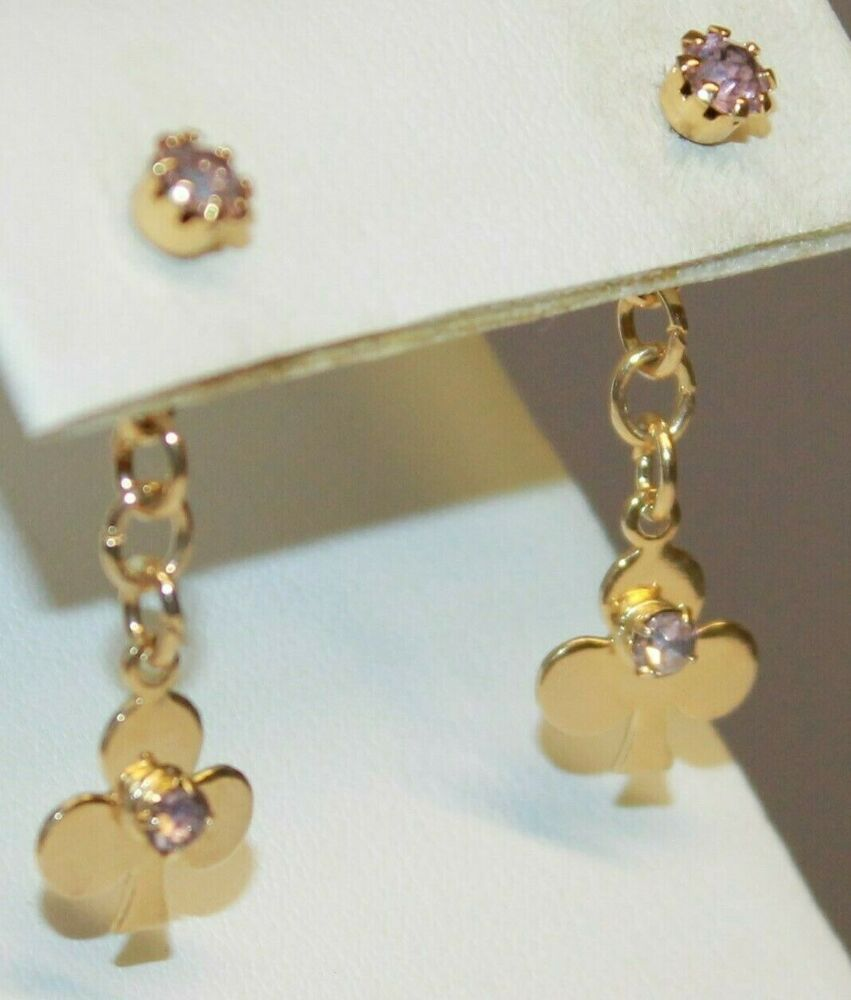 Clubs Clover Pink Rhinestone Dangle Post Earrings Gold Tone Stacked Vintage