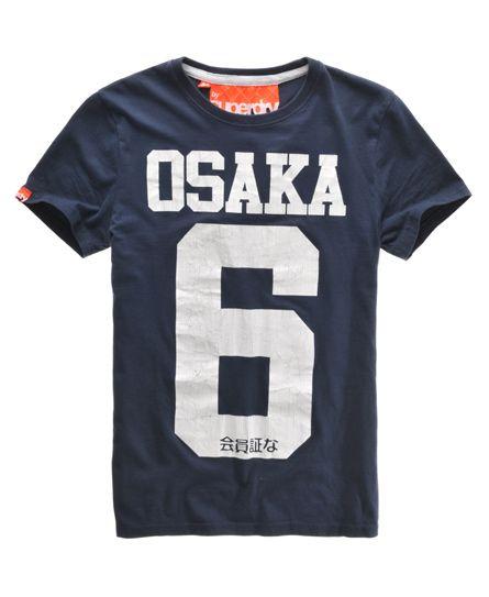 14635532 Superdry men's Osaka t-shirt. The iconic Osaka t-shirt, with a distressed  Osaka 6 print design and a Superdry sleeve logo tab.