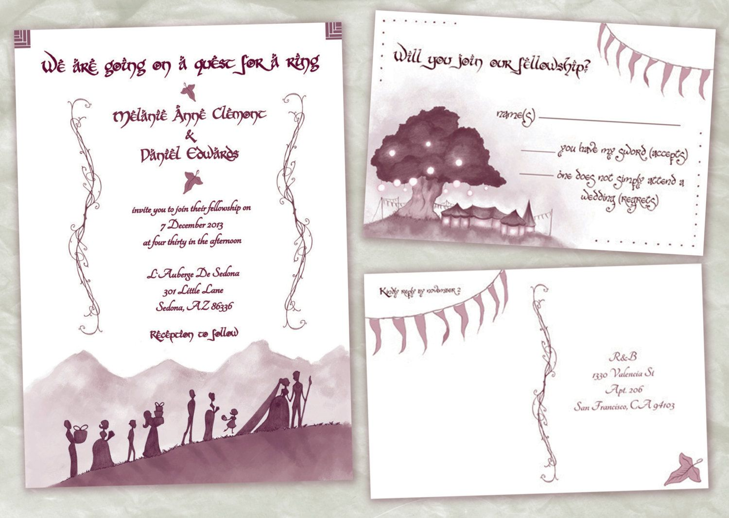 lord of the rings wedding invitations nerdygeeky invitation set printable - Nerdy Wedding Invitations
