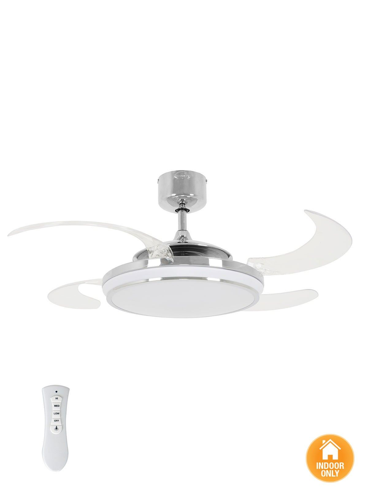 Fanaway Evo1 Prevail Chrome Ceiling Fan with Clear Retractable