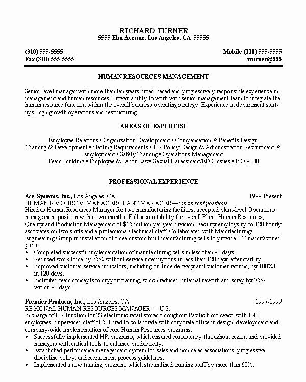 Human Resources Manager Resume Best Of Human Resources