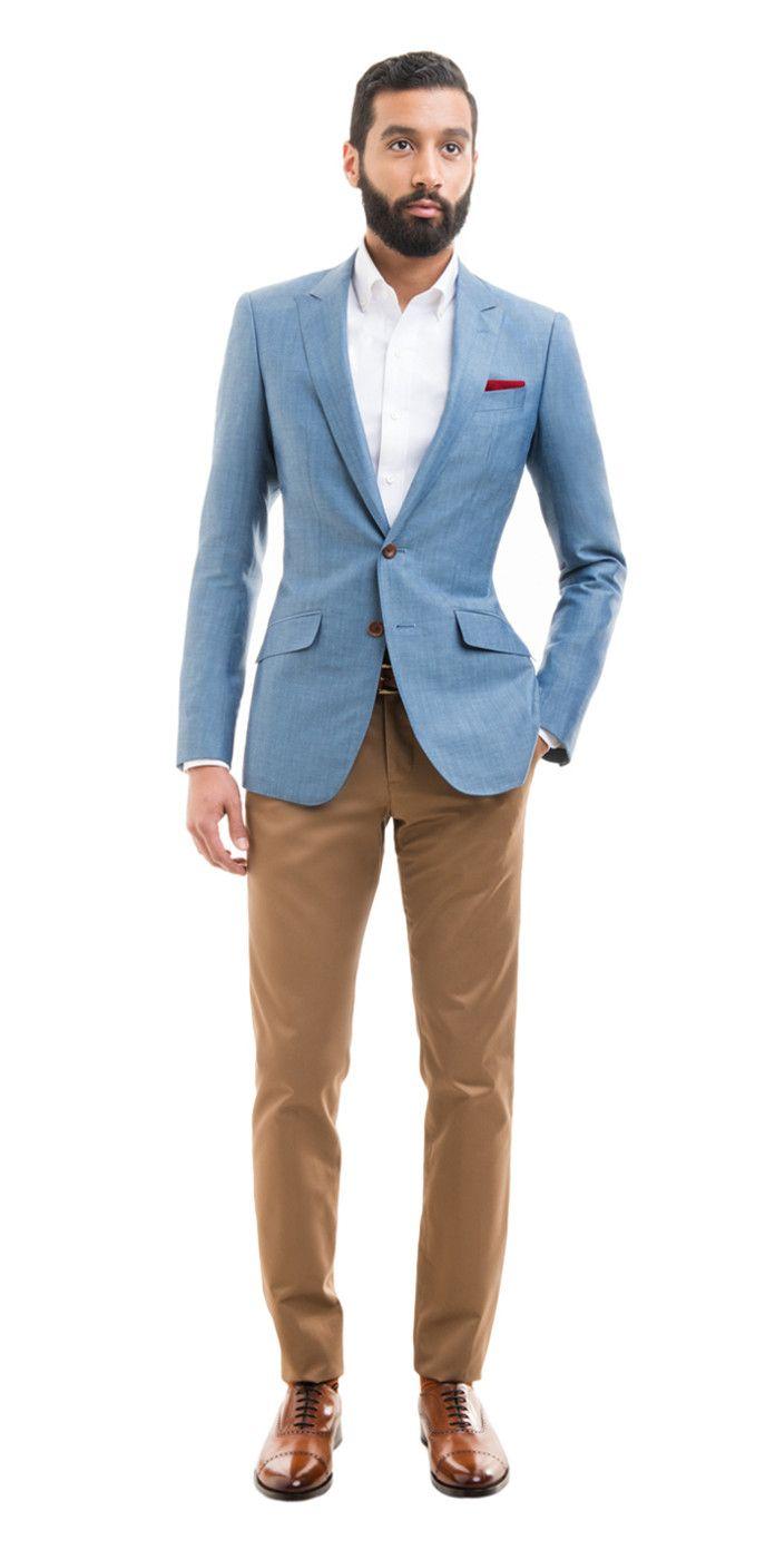 dd6eae5b90 Light Blue Linen Blend Custom Blazer