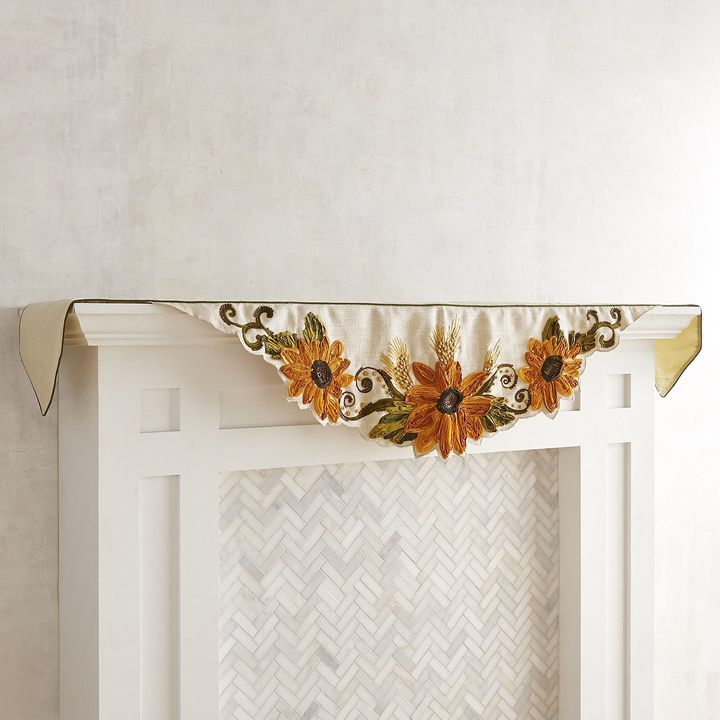 Fall decor - sunflower mantel scarf, sunflower decor, fall mantel