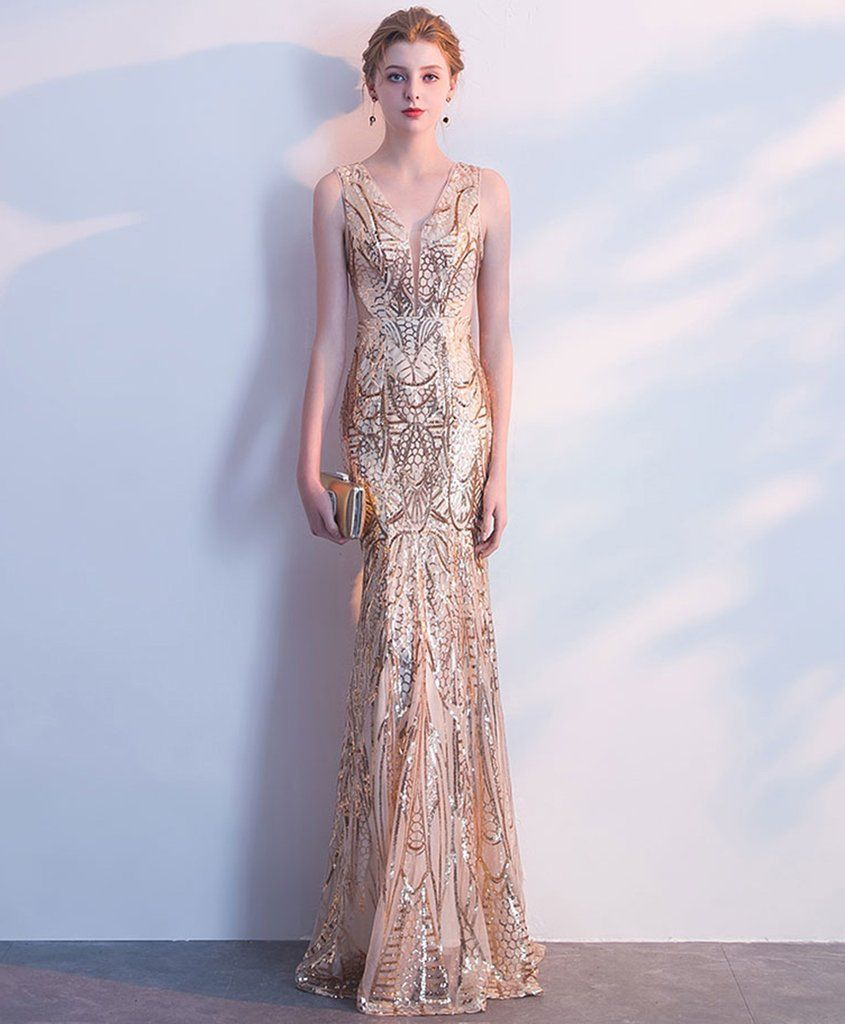 Light gold sequin v neck long mermaid halter evening dress prom