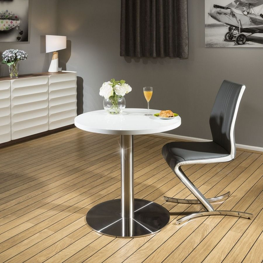 Quatropi Round Dining Table White 80cm Corian Top Commercial