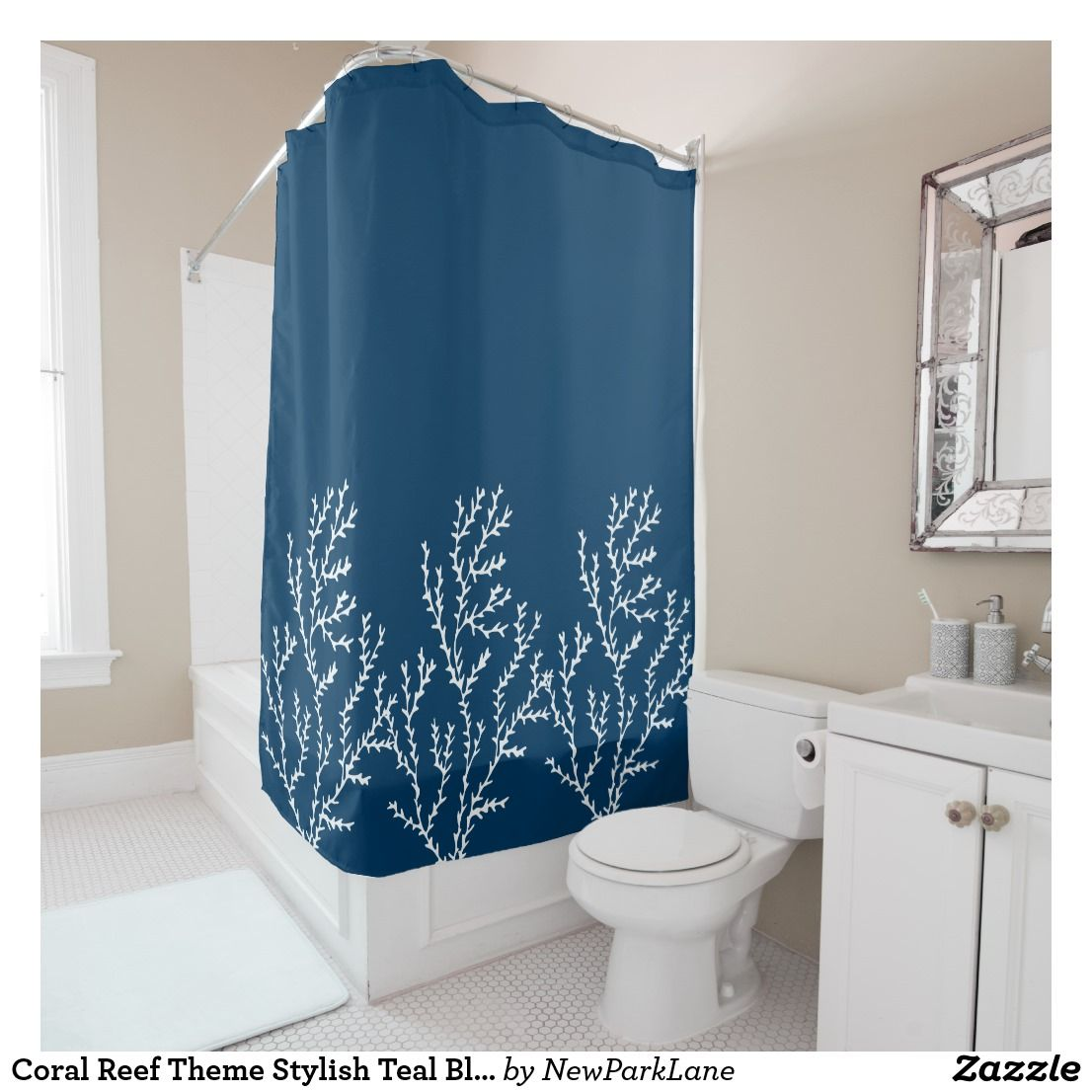 Coral Reef Theme Stylish Teal Blue Seaweed Pattern Shower Curtain