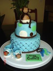 cute cake for a monkey boy baby shower theme for some more monkey