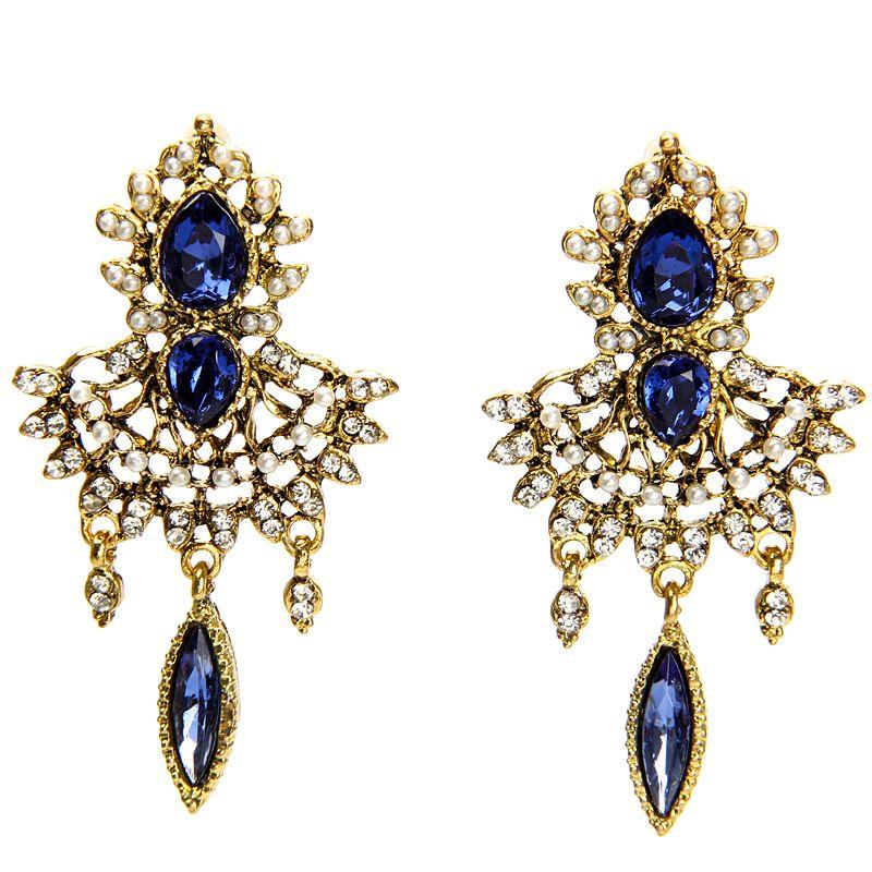 Classic Design Blue Crystal Dangle Earrings Vintage Elegant Long Earrings Jewelry For Women Wedding Party Accessories
