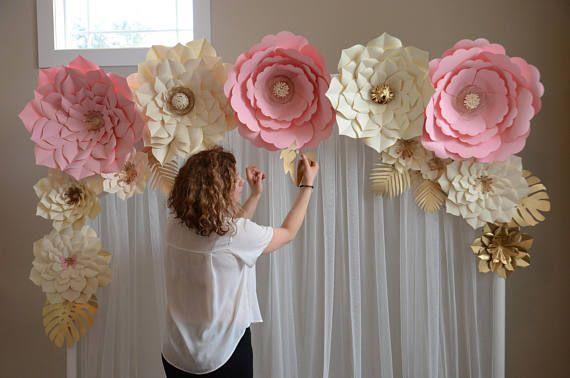 Blumenhintergrund, Papierblumenschablone, DIY-Papierblume, große Papierblumenschablone, Hochzeitsdekoration, Papierblumenanleitung, Papier   – Flores de paper