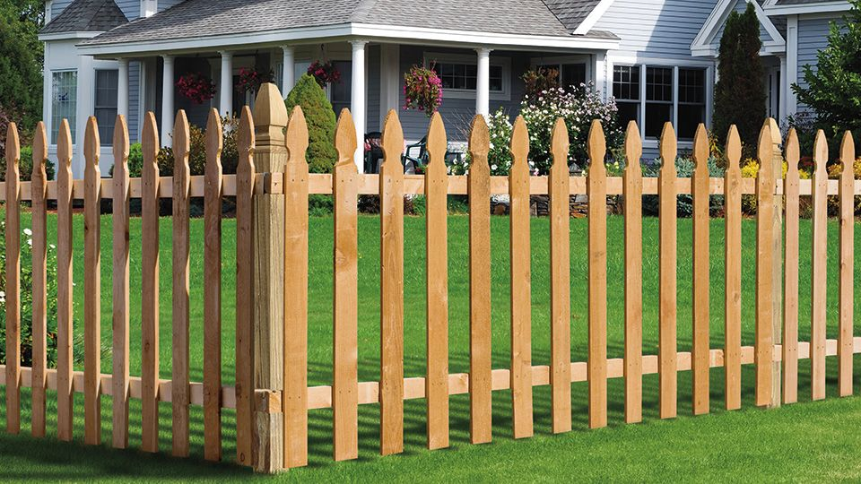 Front Yard Pressure Treated Wood French Gothic Spaced Picket Fence